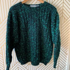 Comfy green and black sweater